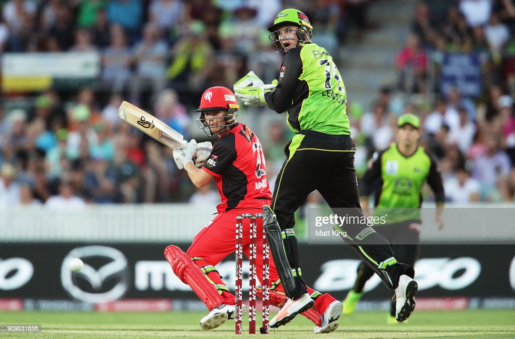 Marcus Harris of the Renegades bats during the Big Bash League match between the Sydney Thunder and the Melbourne Renegades at Manuka Oval on January 24, 2018 in Canberra, Australia.