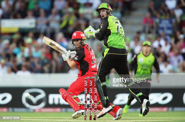 Marcus Harris of the Renegades bats during the Big Bash League match between the Sydney Thunder and the Melbourne Renegades at Manuka Oval on January...