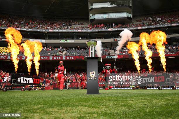 Marcus Harris of the Renegades runs out onto the field during the Big Bash League Final match between the Melbourne Renegades and the Melbourne Stars...