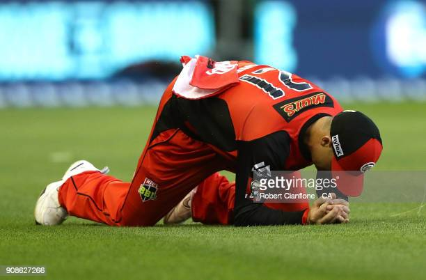 Marcus Harris of the Renegades takes a catch to dismiss Alex Carey of the Strikers during the Big Bash League match between the Melbourne Renegades...