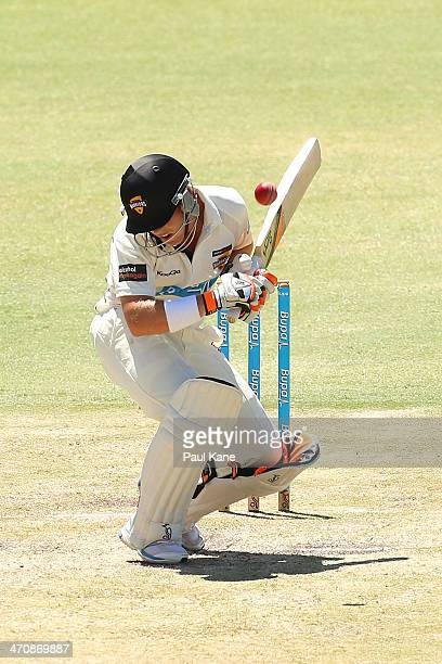 Marcus Harris of the Warriors avoids a bouncer during day two of the Sheffield Shield match between the Western Australia Warriors and the New South...