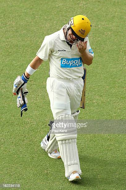 Marcus Harris of the Warriors walks from the field after being dismissed by Ben Hilfenhaus of the Tigers during day one of Sheffield Shield match...