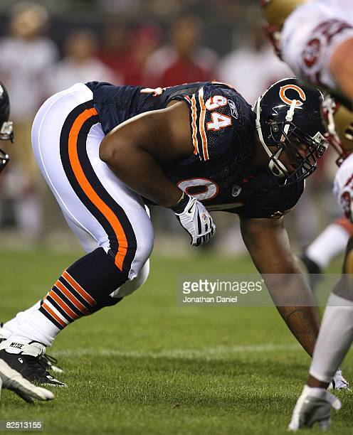 Marcus Harrison of the Chicago Bears awaits the snap against the San Francisco 49ers on August 21 2008 at Soldier Field in Chicago Illinois The 49ers...