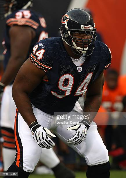 Marcus Harrison of the Chicago Bears participates in warmups before a game against the San Francisco 49ers on August 21 2008 at Soldier Field in...