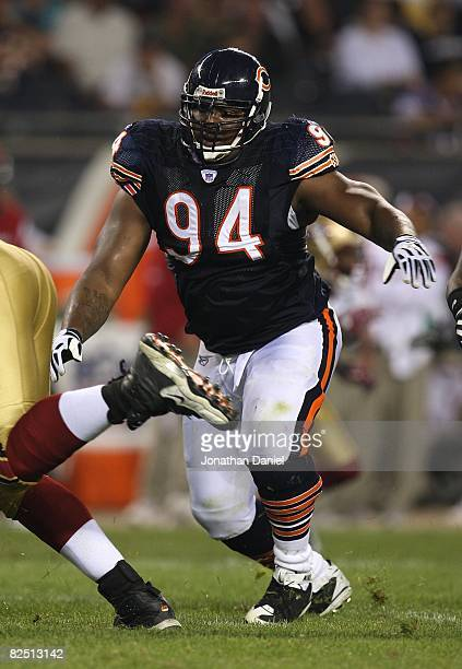 Marcus Harrison of the Chicago Bears rushes the passer during a game against the San Francisco 49ers on August 21 2008 at Soldier Field in Chicago...