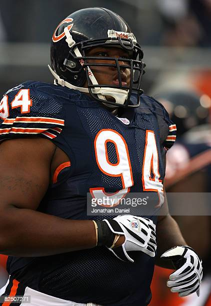 Marcus Harrison of the Chicago Bears warmsup before a game against the San Francisco 49ers on August 21 2008 at Soldier Field in Chicago Illinois