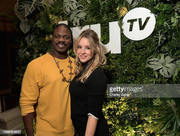 Marcus Henderson and Hassie Harrison attend the truTV Happy Hour at The Langham Huntington Hotel and Spa on February 11 2019 in Pasadena California...