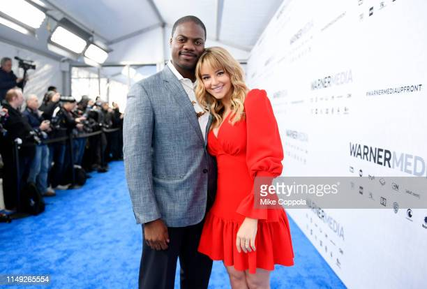 Marcus Henderson and Hassie Harrison of truTV's Tacoma FD attend the WarnerMedia Upfront 2019 arrivals on the red carpet at The Theater at Madison...
