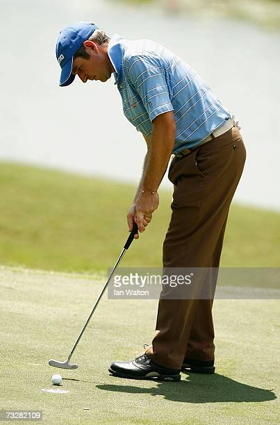 Marcus Higley of England in action during the third round of the 2007 Maybank Malaysian Open at Saujana Golf and Country Club on February 10 2006 in...