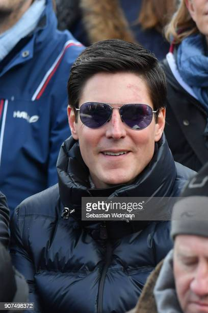 Marcus Hoefl attends the Hahnenkamm race on January 20 2018 in Kitzbuehel Austria
