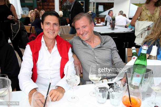 """Marcus Hoefl, Erich Obermaier during the first Ladies Day and start of the """"Queens Club"""" hosted by Maria Hoefl-Riesch on June 26, 2020 at Berggasthof..."""