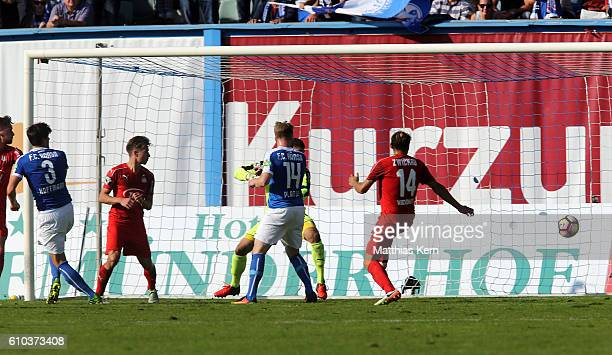 Marcus Hoffmann of Rostock scores the fived goal during the third league match between FC Hansa Rostock and FSV Zwickau at Ostseestadion on September...