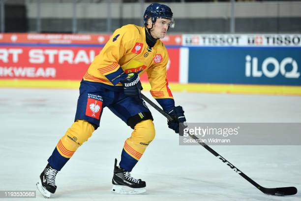 Marcus Hogstrom of Djurgarden Stockholm in action during the Champions Hockey League quarter finals second leg match between EHC Red Bull Muenchen...