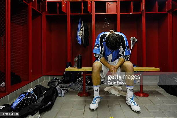 Marcus Homan of the Ohio Machine prepares in the locker room prior to a game against the Charlotte Hounds at Selby Stadium on May 16 2015 in Delaware...