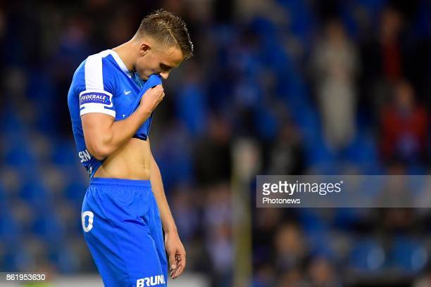 Marcus Ingvartsen forward of KRC Genk shows dejection during the Jupiler Pro League match between KRC Genk and RE Mouscron on October 14 2017 in Genk...