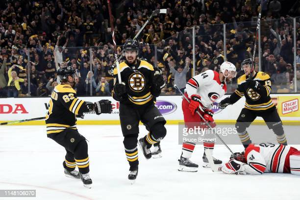 Marcus Johansson of the Boston Bruins celebrates after scoring a third period goal against the Carolina Hurricanes in Game One of the Eastern...