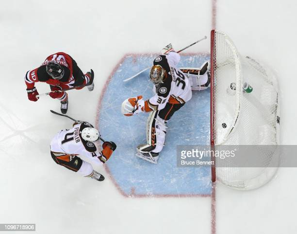 Marcus Johansson of the New Jersey Devils scores on John Gibson of the Anaheim Ducks at the Prudential Center on January 19 2019 in Newark New Jersey...