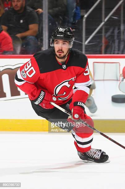 Marcus Johansson of the New Jersey Devils skates against the Columbus Blue Jackets during the game at Prudential Center on December 8 2017 in Newark...