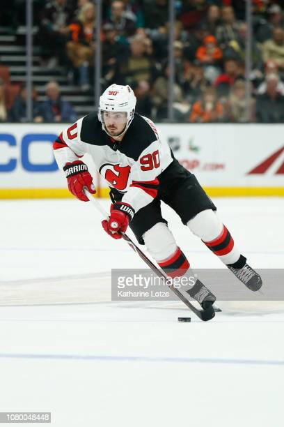 Marcus Johansson of the New Jersey Devils skates down the ice against the Anaheim Ducks at Honda Center on December 09 2018 in Anaheim California