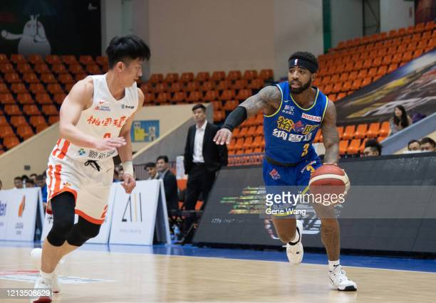 Marcus Keene of Yulon Luxgen Dinos dribble during the Super Basketball League closed door match between Pauian Archiland and Yulon Luxgen Dinos at...