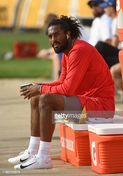 Marcus Kemp of the Kansas City Chiefs looks on from the sidelines before a preseason game against the Pittsburgh Steelers at Heinz Field on August 17...