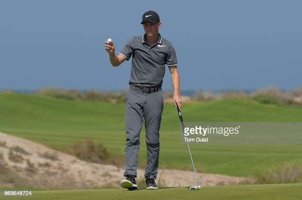 Marcus Kinhult of Sweden acknowledges the crowd during day three of the NBO Golf Classic Grand Final at Al Mouj Golf on November 3 2017 in Muscat Oman