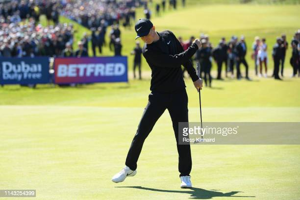 Marcus Kinhult of Sweden celebrates holing a putt for victory on the 18th green during day four of the Betfred British Masters at Hillside Golf Club...