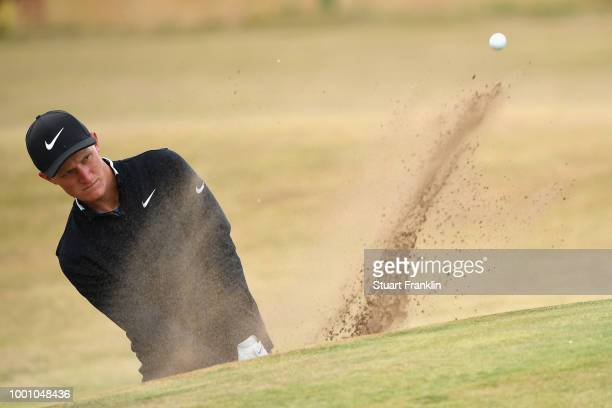 Marcus Kinhult of Sweden hits a bunker shot during previews to the 147th Open Championship at Carnoustie Golf Club on July 18 2018 in Carnoustie...