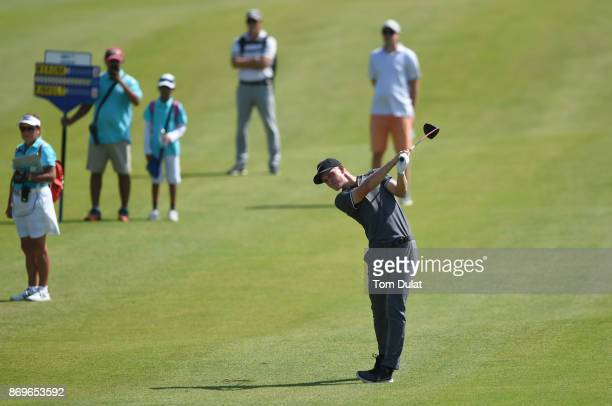 Marcus Kinhult of Sweden hits an approach shot during day three of the NBO Golf Classic Grand Final at Al Mouj Golf on November 3 2017 in Muscat Oman
