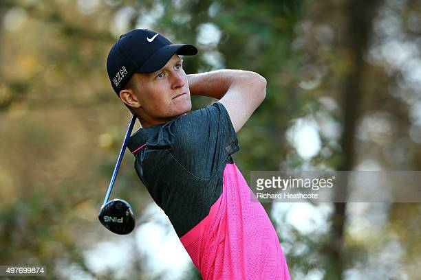 Marcus Kinhult of Sweden in action during the fifth round of the European Tour Qualifying School Final at PGA Catalunya Resort on November 18 2015 in...