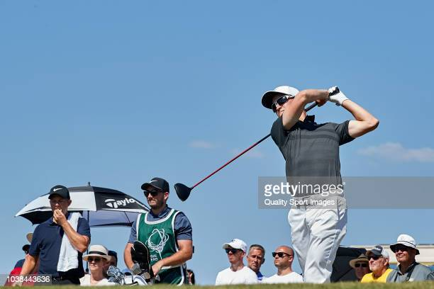 Marcus Kinhult of Sweden looks on during day four of Portugal Masters at Dom Pedro Victoria Golf Course on September 23 2018 in Vilamoura Portugal