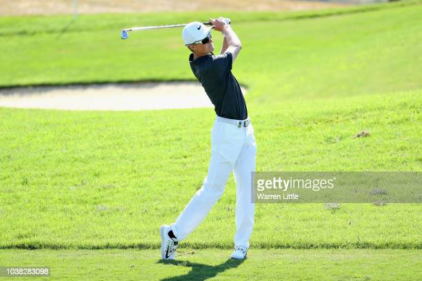 Marcus Kinhult of Sweden plays his second shot on hole one during Day Four of the Portugal Masters at Dom Pedro Victoria Golf Course on September 23...