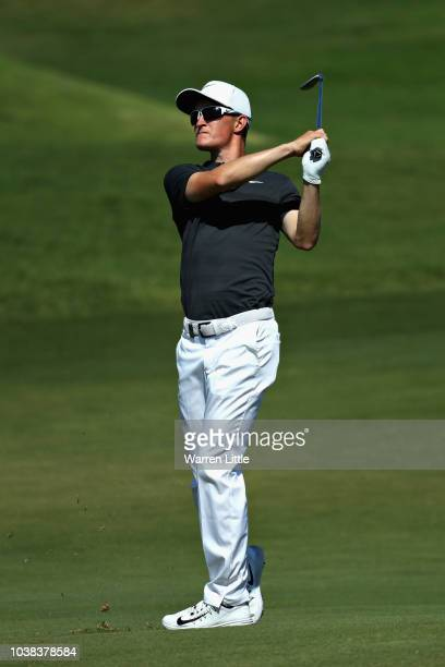 Marcus Kinhult of Sweden plays his second shot on hole ten during Day Four of the Portugal Masters at Dom Pedro Victoria Golf Course on September 23...