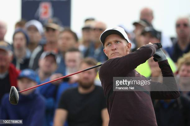 Marcus Kinhult of Sweden plays his shot from the 18th tee during the second round of the 147th Open Championship at Carnoustie Golf Club on July 20...