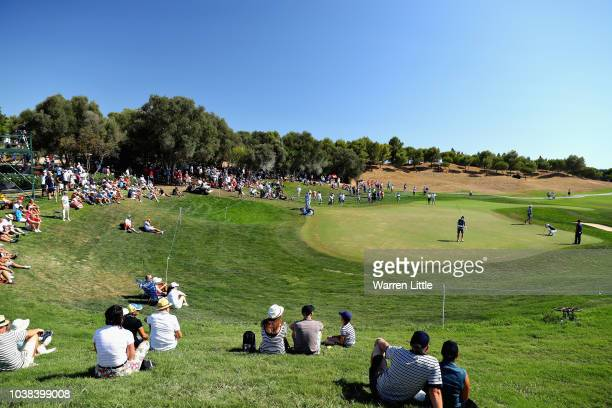 Marcus Kinhult of Sweden putts on hole thirteen during Day Four of the Portugal Masters at Dom Pedro Victoria Golf Course on September 23 2018 in...