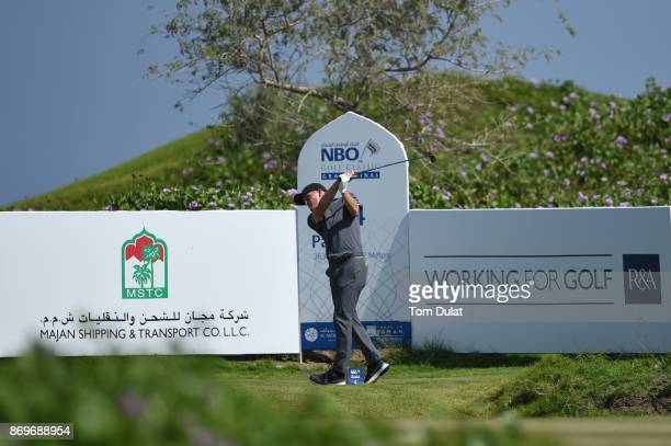Marcus Kinhult of Sweden tees off during day three of the NBO Golf Classic Grand Final at Al Mouj Golf on November 3 2017 in Muscat Oman
