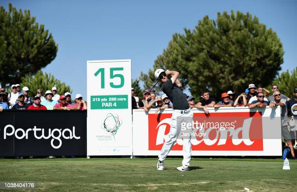 Marcus Kinhult of Sweden tees off on hole fifteen during Day Four of the Portugal Masters at Dom Pedro Victoria Golf Course on September 23 2018 in...