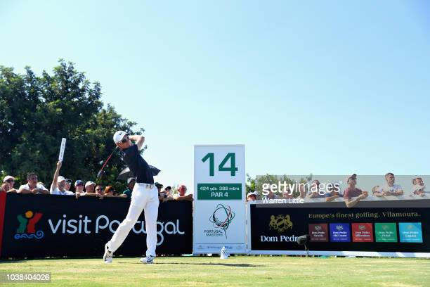 Marcus Kinhult of Sweden tees off on hole fourteen during Day Four of the Portugal Masters at Dom Pedro Victoria Golf Course on September 23 2018 in...