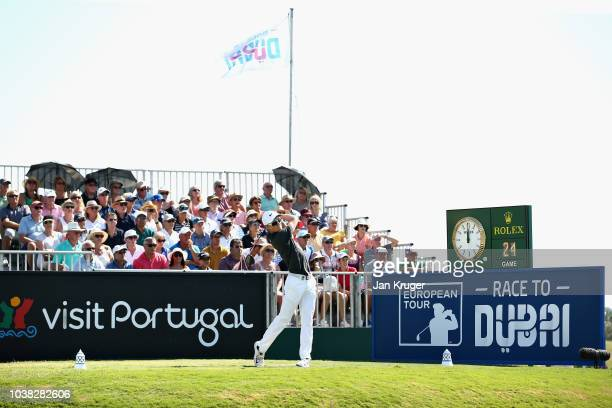 Marcus Kinhult of Sweden tees off on hole one during Day Four of the Portugal Masters at Dom Pedro Victoria Golf Course on September 23 2018 in...