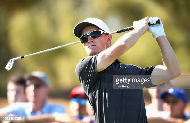 Marcus Kinhult of Sweden tees off on hole sixteen during Day Four of the Portugal Masters at Dom Pedro Victoria Golf Course on September 23 2018 in...