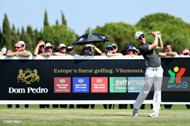 Marcus Kinhult of Sweden tees off on hole ten during Day Four of the Portugal Masters at Dom Pedro Victoria Golf Course on September 23 2018 in...