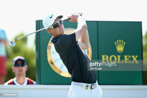 Marcus Kinhult of Sweden tees off on hole thirteen during Day Four of the Portugal Masters at Dom Pedro Victoria Golf Course on September 23 2018 in...