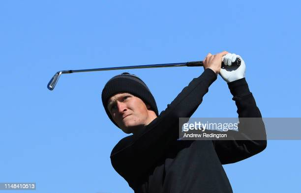 Marcus Kinhult of Sweden tees off on the 4th hole during day three of the Betfred British Masters at Hillside Golf Club on May 11 2019 in Southport...