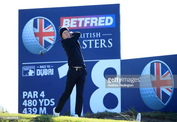 Marcus Kinhult of Sweden tees off the 18th during day three of the Betfred British Masters at Hillside Golf Club on May 11 2019 in Southport United...