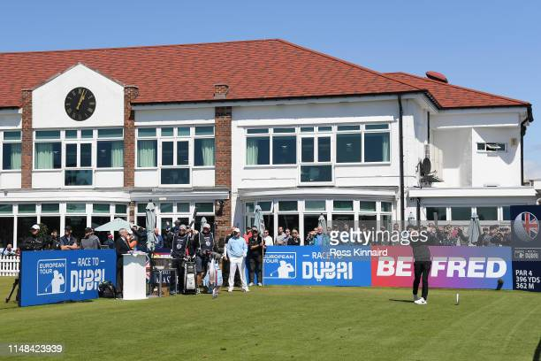 Marcus Kinhult of Sweden tees off the 1st during day three of the Betfred British Masters at Hillside Golf Club on May 11 2019 in Southport United...