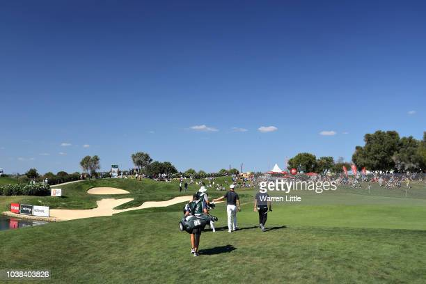 Marcus Kinhult of Sweden walks on hole thirteen during Day Four of the Portugal Masters at Dom Pedro Victoria Golf Course on September 23 2018 in...