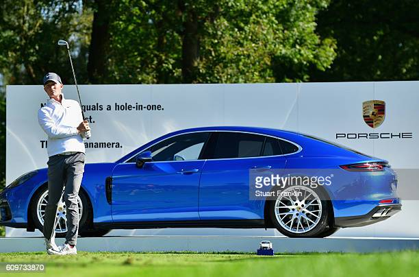 Marcus Kinhult of Sweeden tees off during day one of the Porsche European Open at Golf Resort Bad Griesbach on September 22 2016 in Passau Germany