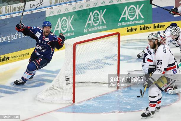 Marcus Kink of Mannheim celebrates his team's first goal during the DEL Playoffs quarter finals Game 7 between Adler Mannheim and Eisbareren Berlin...