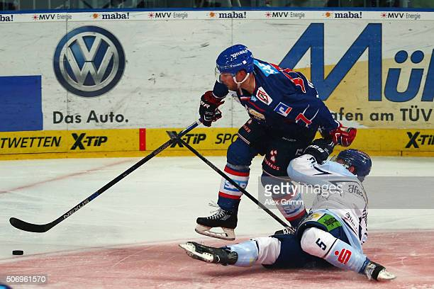 Marcus Kink of Mannheim is challenged by Dylan Yeo of Straubing during the DEL match between Adler Mannheim and Straubing Tigers at SAP Arena on...