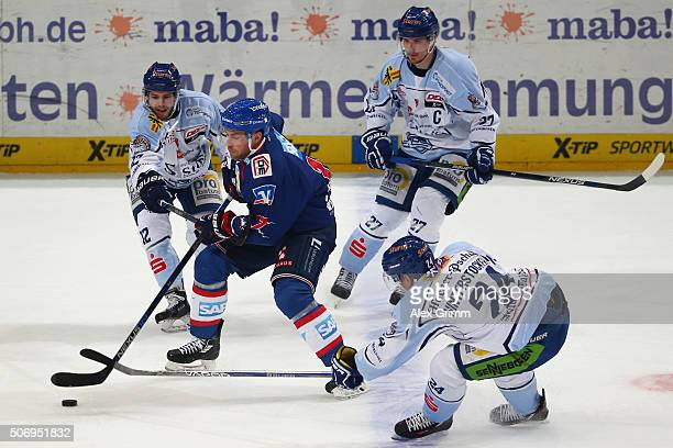 Marcus Kink of Mannheim is challenged by Thomas Brandl Sandro Schoenberger and Martin Hinterstocker of Straubing during the DEL match between Adler...